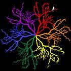 Bird in a rainbow tree world by emmarogers