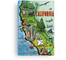 California Cartoon Map Canvas Print