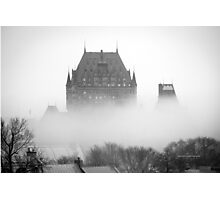 A Foggy Morning engulfs Chateau Frontenac Black and White Photographic Print