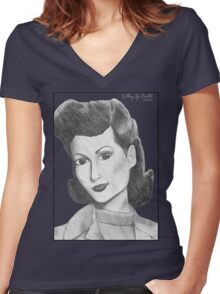 1940's Actress Women's Fitted V-Neck T-Shirt