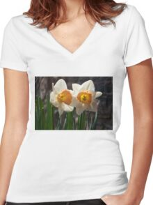 In Conversation - a Couple of Daffodils Huddled Together Women's Fitted V-Neck T-Shirt