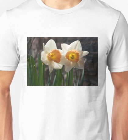 In Conversation - a Couple of Daffodils Huddled Together Unisex T-Shirt