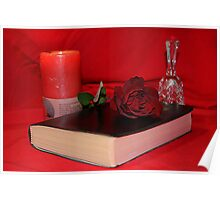 Rose,book,candle & Bell Poster