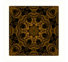 Rose Star kaleidoscope in gold Art Print