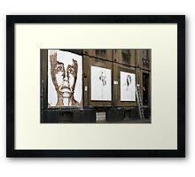 Chisel face by Vhils Framed Print