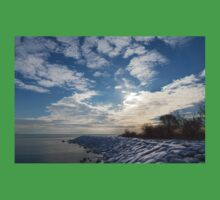 Brilliant Sunshine After the Snowstorm – a Winter Beach on Lake Ontario Kids Clothes