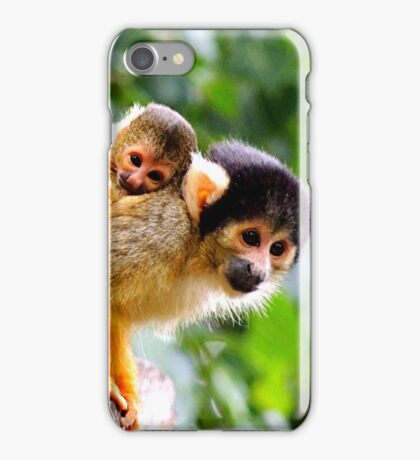 Squirrel Monkey and Clinging Infant iPhone Case/Skin