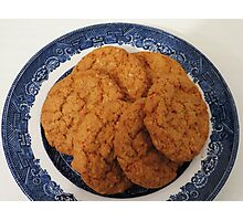 Oat Flake and Honey Crunchy Biscuits Photographic Print