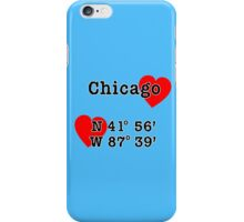 Chicago with GPS Coordinates iPhone Case/Skin