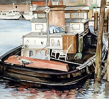 Tugboat At The Harbor Dock by clotheslineart