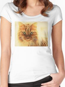 Marmalade Cat With Curvy Whiskers Women's Fitted Scoop T-Shirt
