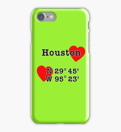 Houston Texas with GPS Coordinates   iPhone Case/Skin