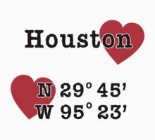 Houston Texas with GPS Coordinates   One Piece - Short Sleeve