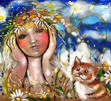 Girl with Cat and a Floral Wreath by mikejohnson