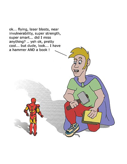 Skeptic Man versus Iron Man by Octochimp Designs