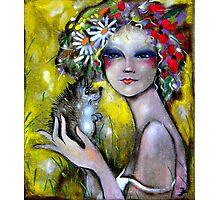 Girl with hedgehog Photographic Print