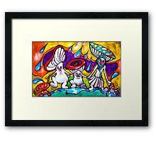 Dancing Mushrooms Framed Print