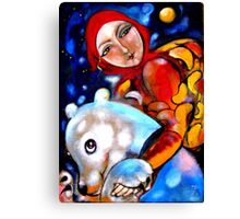 Girl with white bear Canvas Print