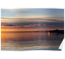 sun setting on galway, eire Poster