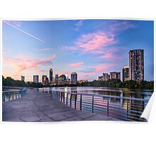 Austin Skyline at sunset from the Boardwalk Poster