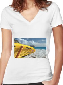 Porthcurno Surfboard Women's Fitted V-Neck T-Shirt