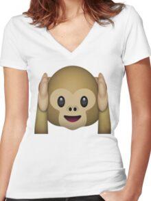 Monkey Emoji - Hear No Evil Women's Fitted V-Neck T-Shirt