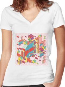machine of robot vintage isometric Women's Fitted V-Neck T-Shirt