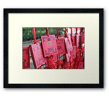 China - red prayer cards Framed Print