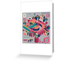 alphabet 3D letter D Greeting Card