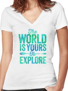 The World is Yours To Explore - Green/Blue Version. Women's Fitted V-Neck T-Shirt
