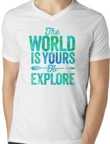 The World is Yours To Explore - Green/Blue Version. Mens V-Neck T-Shirt