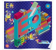 vector alphabet 3D letter E Poster
