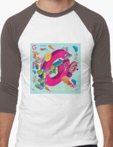 vector alphabet 3D letter G Men's Baseball ¾ T-Shirt