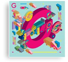 vector alphabet 3D letter G Canvas Print