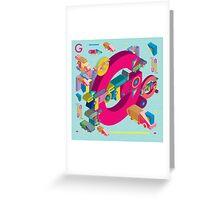 vector alphabet 3D letter G Greeting Card