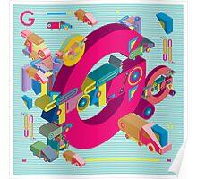 vector alphabet 3D letter G Poster