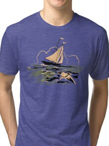 Mid Century Boat and Seagull in Stormy weather Tri-blend T-Shirt