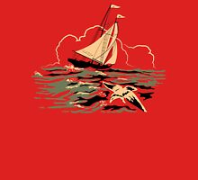 Mid Century Boat and Seagull in Stormy weather Womens Fitted T-Shirt