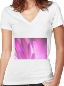 Pink Women's Fitted V-Neck T-Shirt