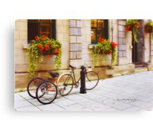 Tandem Bicycle and Flowers 2 Canvas Print