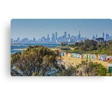 The Bath Huts at Brighton Beach, Melbourne Canvas Print