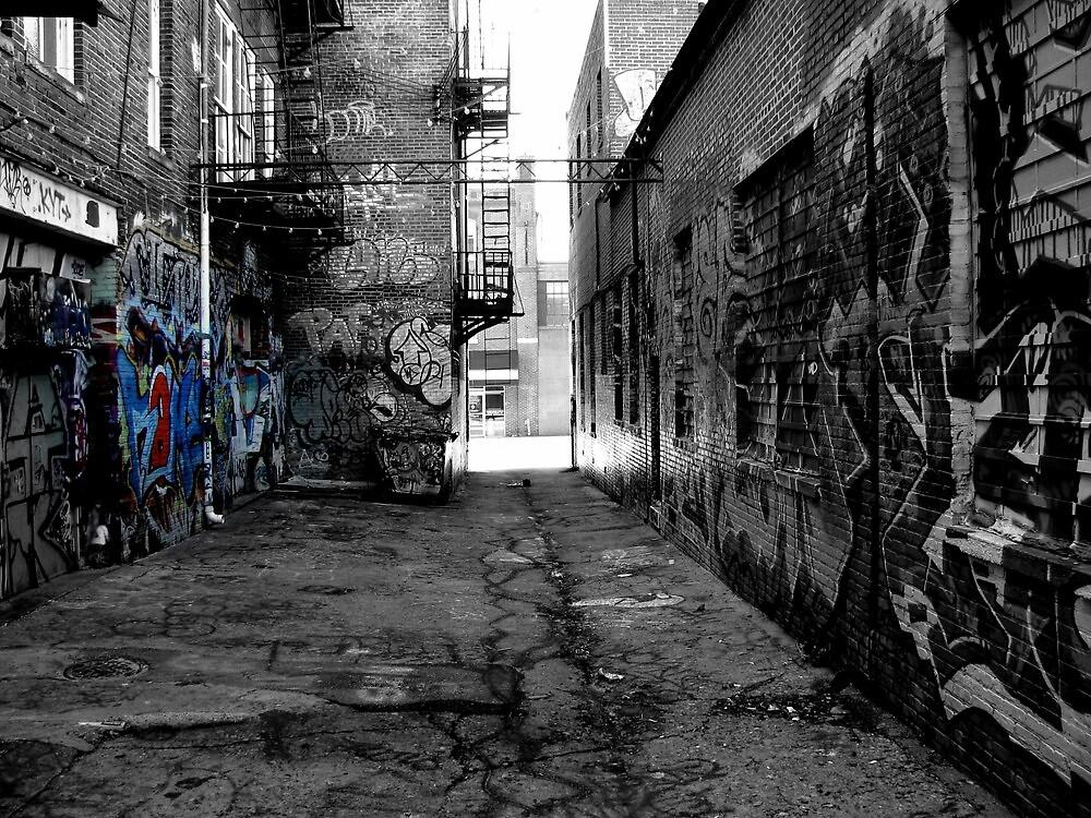 black and white graffiti by Russell Bradshaw