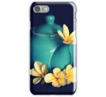 Blue Teapot And Frangipanis iPhone Case/Skin