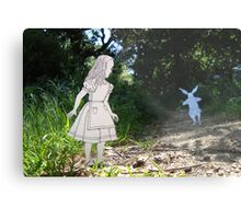 Alice and the White Rabbit Metal Print