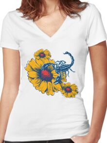 Scorpion Flowers Women's Fitted V-Neck T-Shirt