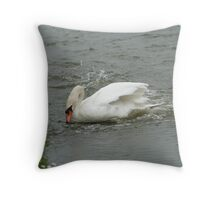 Defensive Duck Circling Swan Throw Pillow