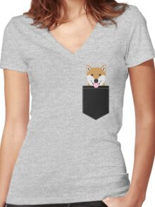 Indiana - Shiba Inu gift design for dog lovers and dog people Women's Fitted V-Neck T-Shirt