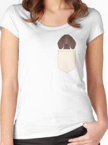 Piper - Dachshund, weener dog, wiener dog, pet portrait, sausage dog, pet Women's Fitted Scoop T-Shirt