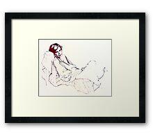 Sleeping girl, oil sketch Framed Print