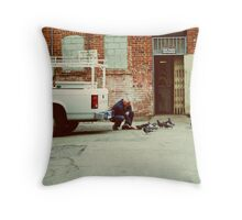 The Man and The Birds Throw Pillow